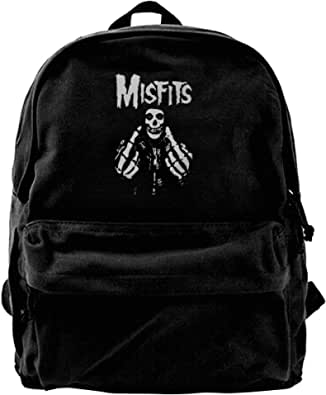 Mochila de lona Misfits Fxx Skull Logo Mochila Gimnasio Senderismo Portátil Bolsa de Hombro Daypack Para Hombres Mujeres