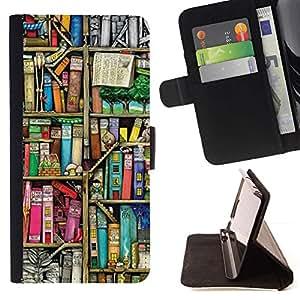 For HTC One A9 Case , La lectura de la Biblioteca Escolar Teach- la tarjeta de Crédito Slots PU Funda de cuero Monedero caso cubierta de piel