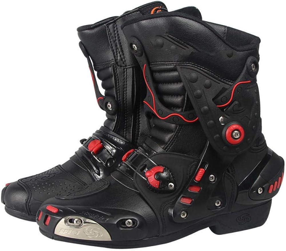 ZOULME Carretera Racing Certified Motocross Off Road Zapatos de Ciclismo Armadura Protección de Armadura Botas de Cuero largas Botas de Motorbike para Hombre Boys