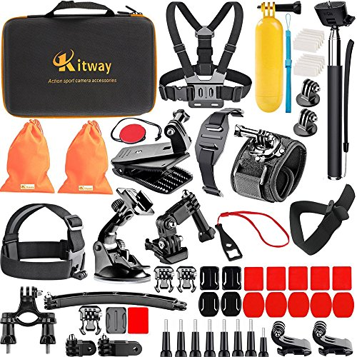 Kitway Sports Accessories Kit for Akaso EK7000/Fitfort/Campark act74 act 76/GoPro Hero 5 Black 4 Session Hero 1 2 3 DBpower/EKEN H9R and more camera (65-in-1)