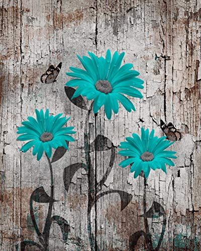 Teal Brown Wall Art, Daisy Flowers & Butterflies, Rustic Home Decor 11x14 Inch Picture With 11x14 Inch White Mat *Ready To Place Inside Any Standard 11x14 Inch Frame*