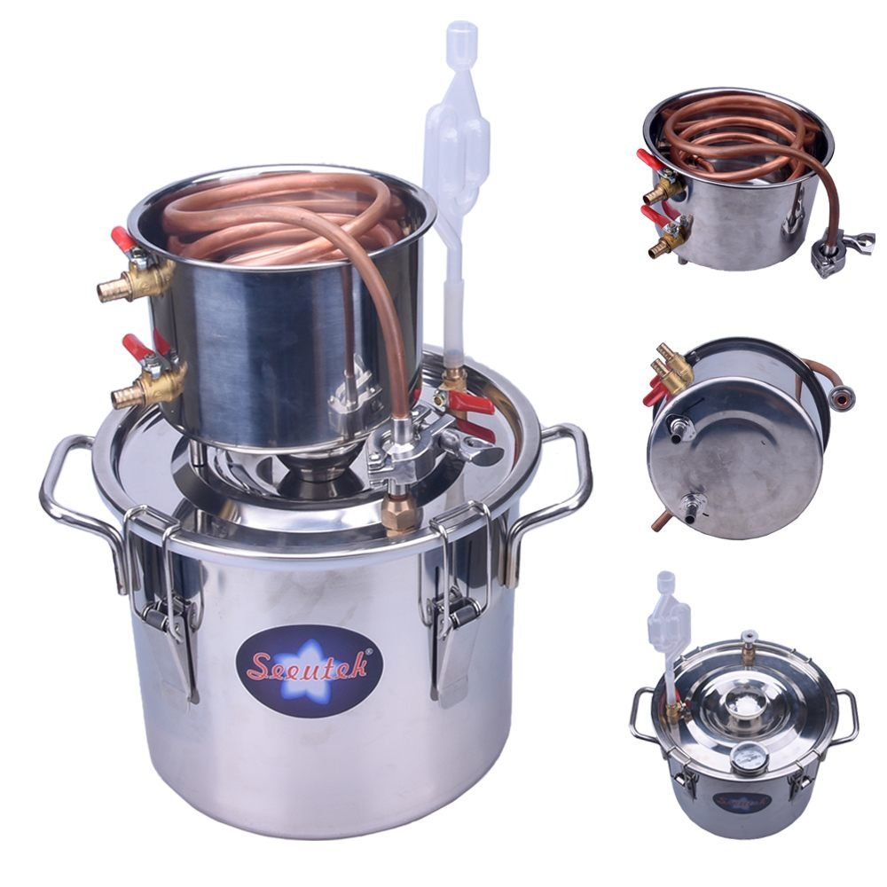 Seeutek 2 Gal 8L Water Alcohol Wine Home Distiller Copper Moonshine Still Kit Stainless Boiler Thumper Keg by Seeutek