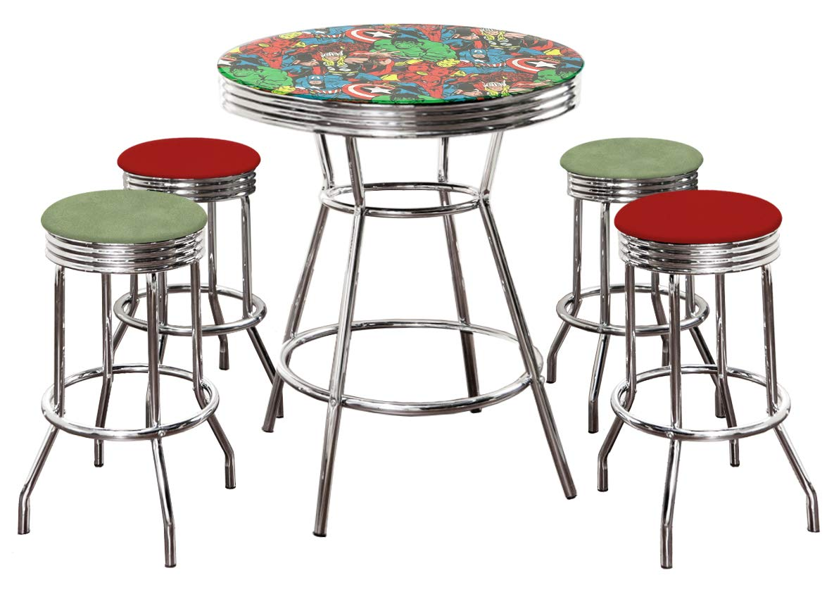 Amazon com the avengers themed 5 piece bar table set glass top table with 2 green vinyl 2 red vinyl swivel seat bar stools kitchen dining