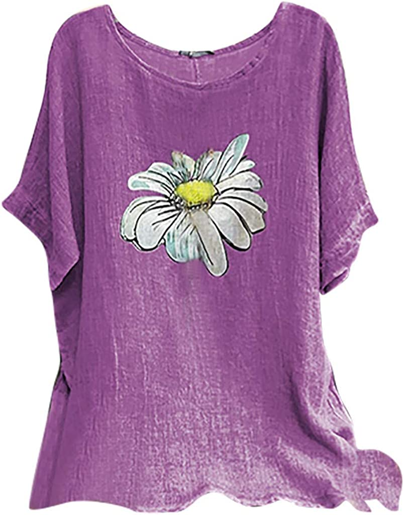 Womens Short Sleeve Top Blouse Ladies Holiday Boho Baggy T-Shirt Size 8-22