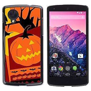 LG Nexus 5 D820 D821 - Metal de aluminio y de plástico duro Caja del teléfono - Negro - Halloween Pumpkin Collage
