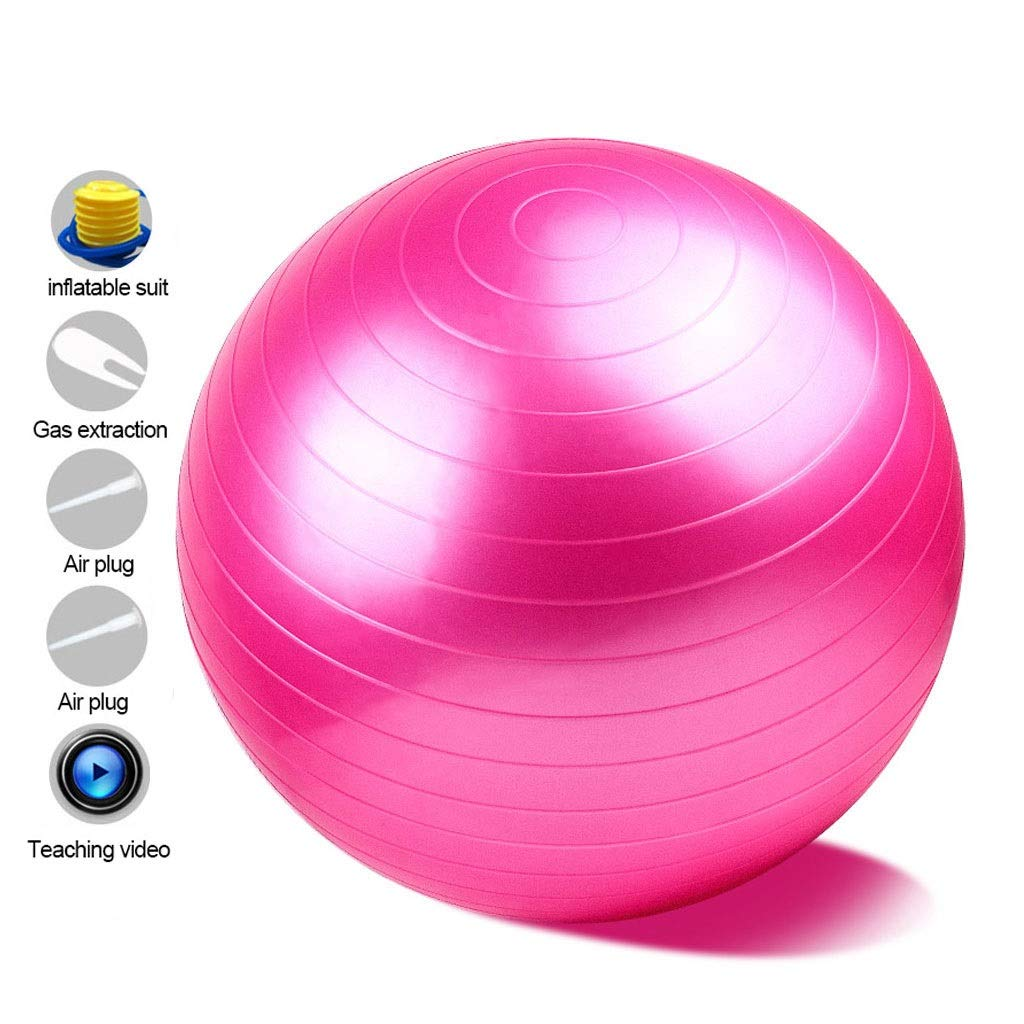 Anti-Burst Heavy Duty Gym Ball, with Pump Physical Therapy Swiss Ball Perfect for Yoga Pilates Birthing Pregnancy Core Training Workout (Office & Home & Gym) (Color : Pink, Size : 55cm)