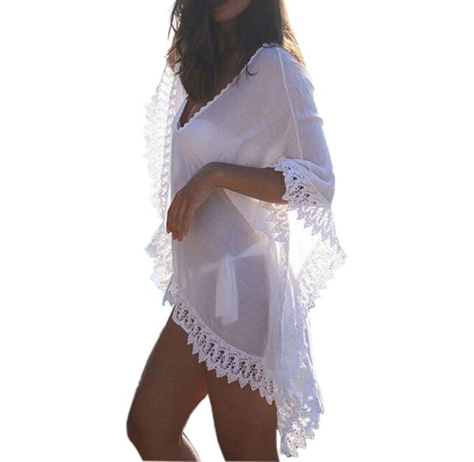 e52808c751e Gankarii - Beach Cover Up Womens Loose Beachwear Swimwear Bikini Cover-up  Beach Dress (One Size White)  Amazon.co.uk  Clothing