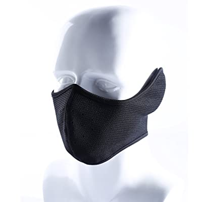 Your Choice Half Face Mask for Cold Weather Winter Face Mask for Ski Motorcycle with Earflaps and Vent Hole Black: Clothing