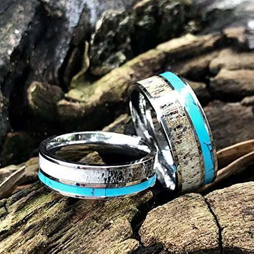 3 pc Natural Deer Antler Ring with Turquoise Inlay Engagement ring Mens Womens Wedding Ring Set Stainless Steel Sterling Silver Band by KingswayJewelry (Image #3)