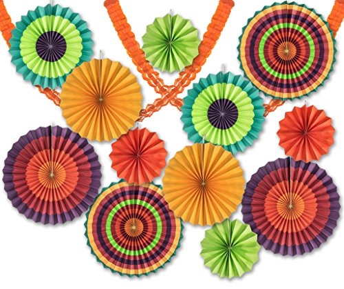 14 Pack - Colorful Fan and Streamer Decoration Pack - 12 Fan