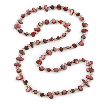Avalaya Long Brown Shell Nugget and Transparent Glass Crystal Bead Necklace - 110cm L N9y201S5