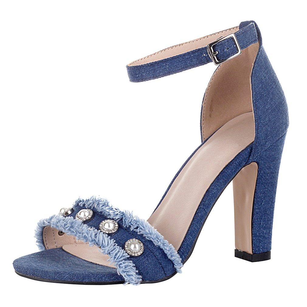 YE Scarpe Tacco Quadrato Donna Eleganti con Perle Cinturino Caviglia Fibbia  Blu Due