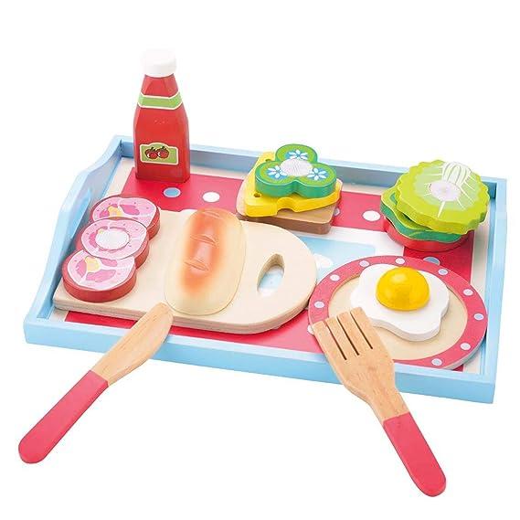 KIDS TOYLAND Pretend Play Breakfast Sets for Kids-Wood Kitchen Sets & Play Food (13 pcs)