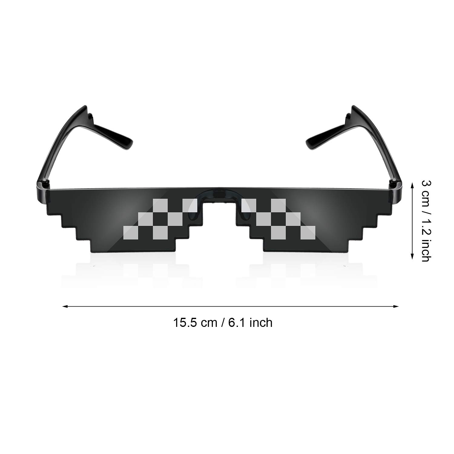 Black Frienda 3 Pairs Pixel Sunglasses Thug Sunglasses Cool Thug Glasses Plastic Pixel Sunglasses Party Accessories for Kids Adults