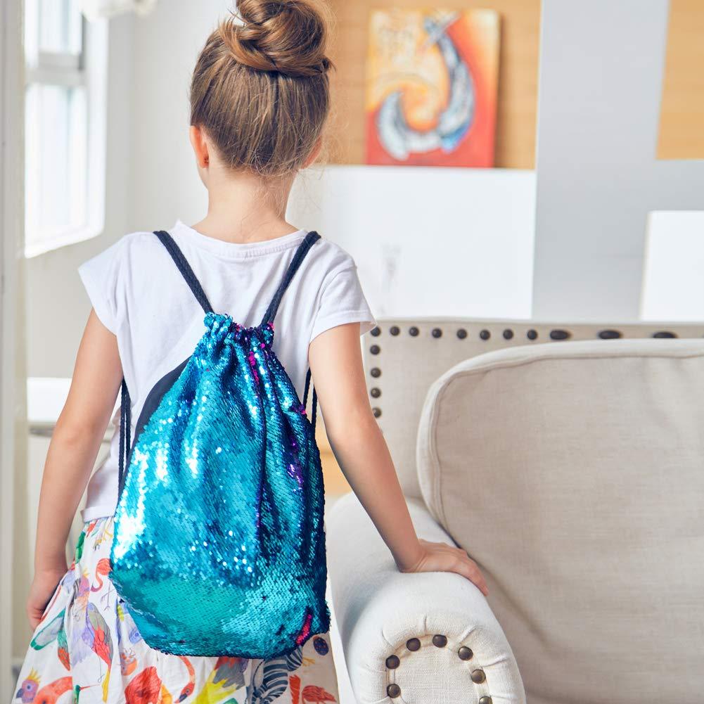 MHJY Mermaid Bag Sequin Drawstring Backpack Dancing Bag Fashion Dance Bag Sequin Backpack Flip Sequin Bling Bag for Beach Hiking Bags by MHJY (Image #7)