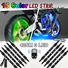 10 x for Harley Davidson Multi-Color LED Strip LED Neon Light with Remote Controller for Universal Motorcycle