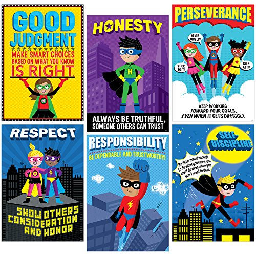 Creative Teaching Press Superhero Character Ed, Inspire U Poster 6 Pack (5649) -