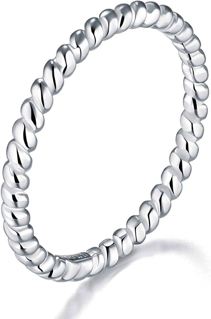 925 Sterling Silver Ring, BORUO Twisted Eternity Band Stackable Rings 2mm Size 4-12: Clothing