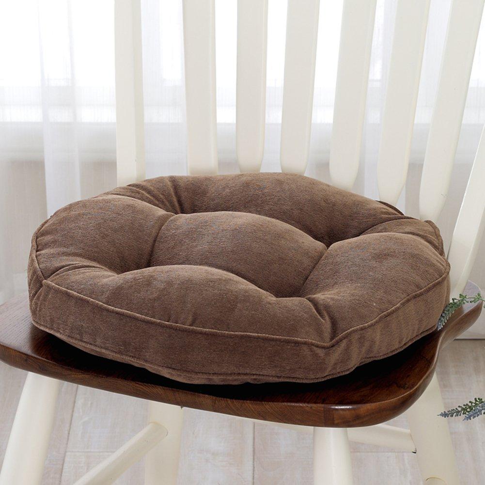 Dining Chair Cushions Floor Mat Balcony Bay Window Pad Plush Sofa Pillow Office Chair Cushion Backrest-Brown diameter 40cm(16inch)