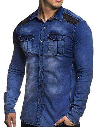 77bd10d01abb M S W Men Denim Slim Fit Long Sleeve Button Down Shirt Casual Work Dress  Shirts ...