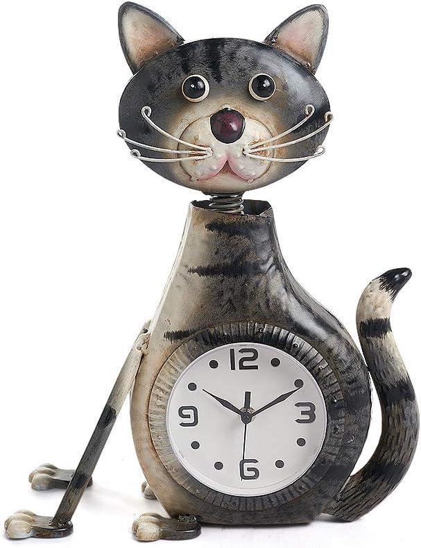 Desk Clock Metal Cute Cat Home Décor with Changeable Light
