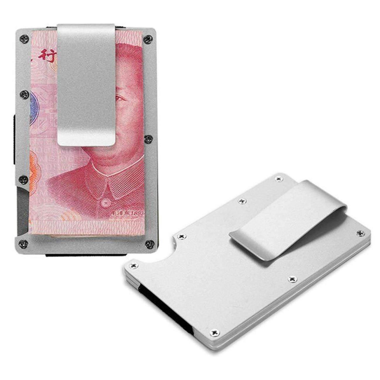Fibra de Carbon RFID Bloqueo Cartera De Hombre Mujer Tarjetero Monedero Billetera Juvenil Aluminio Slim para Tarjetas Y Billete