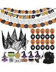 Bluelves Halloween decoratie, Halloween ballonnen decoratieset Happy Halloween banner, pompoen ballon, spinnen ballonnen, pompoen geesten ballonnen ter decoratie van huis, tuin