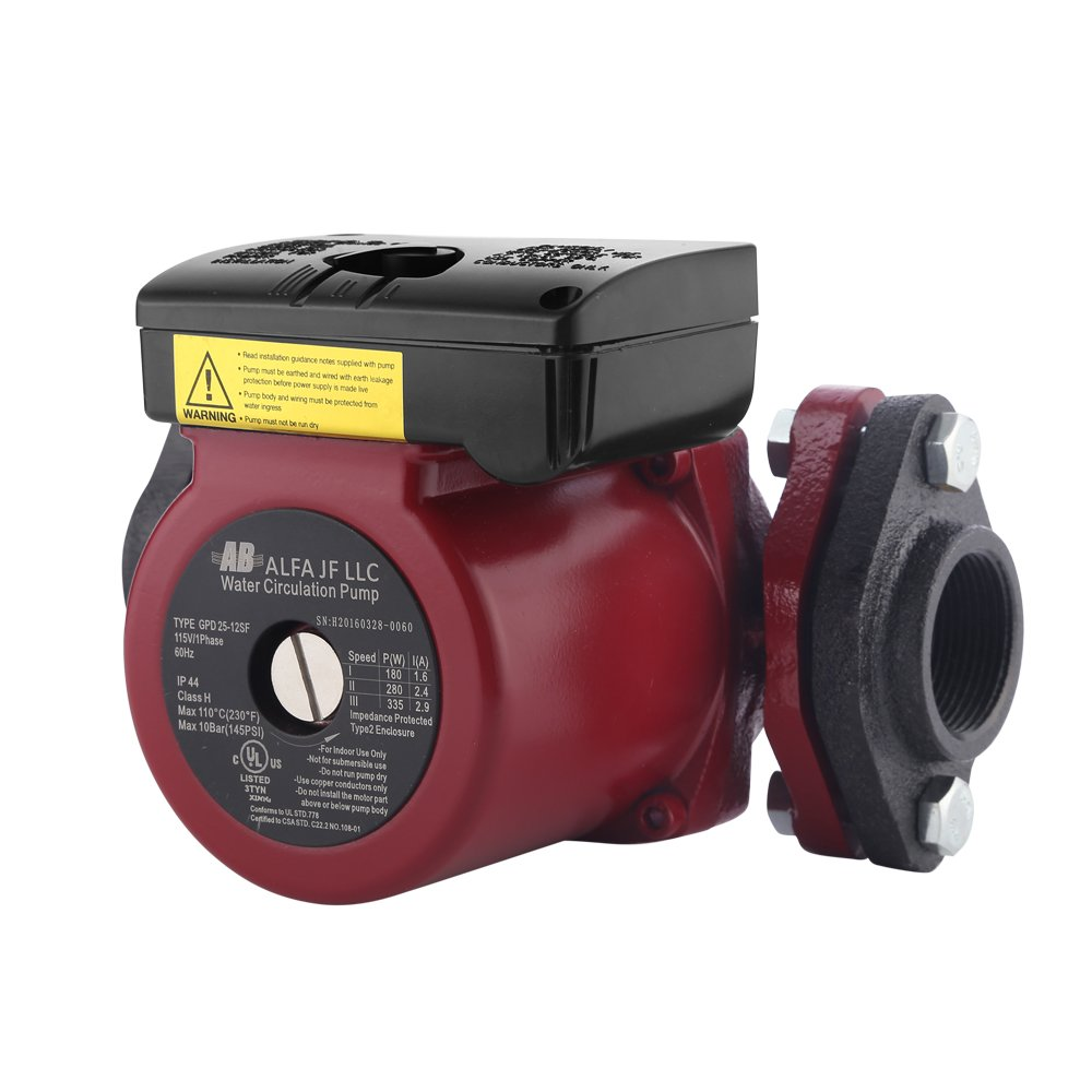 WiseWater Circulation/Circulating Pump with Internal Threaded Flanges - Up to 19.7 Feet Head Range, 3 Speed Switchable for Hydronic Radiant Heating and Plumbing by AB (Image #5)