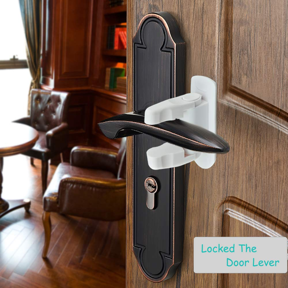 2 Pack Door Lever Lock Door Lever Lock White ,Handle Child Lock,Childproof Doors /& Handles 3M Adhesive,Keep Baby Out