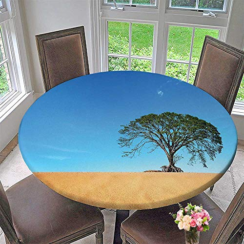 Mikihome Round Fitted Tablecloth Decor Sandy Desert Picture with Big Tree Clear Sky Summertime Hot Weather Nature for All Occasions 59