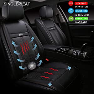 Fochutech Heated Car Seat Covers, 3 in 1 Heated Car Seat Cushion with Cooling Massage, 12V Car Seat Warmers Heaters Plugs into Cigarette Lighter, Universal Heating Pad for Car Home Office Use