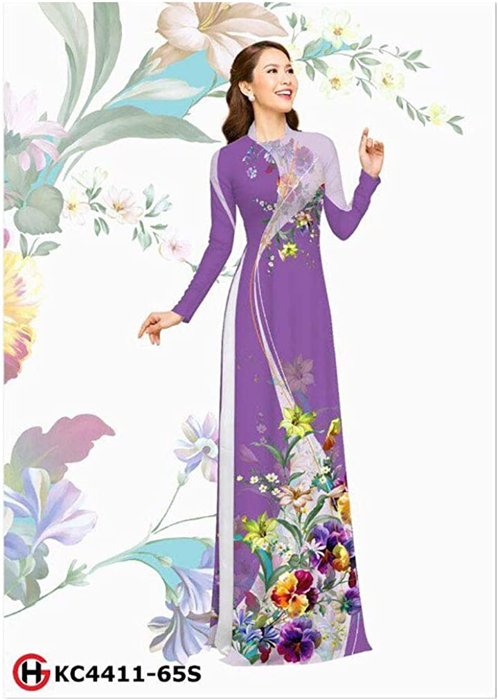 Traditional Vietnamese Long Dress Collections with Pants Silk 3D ADVN0405201949 Ao Dai