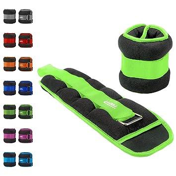 Essentials - Pesas lastradas para tobillos y muñecas con tira ajustable, 0,9 kg (verde): Amazon.es: Deportes y aire libre