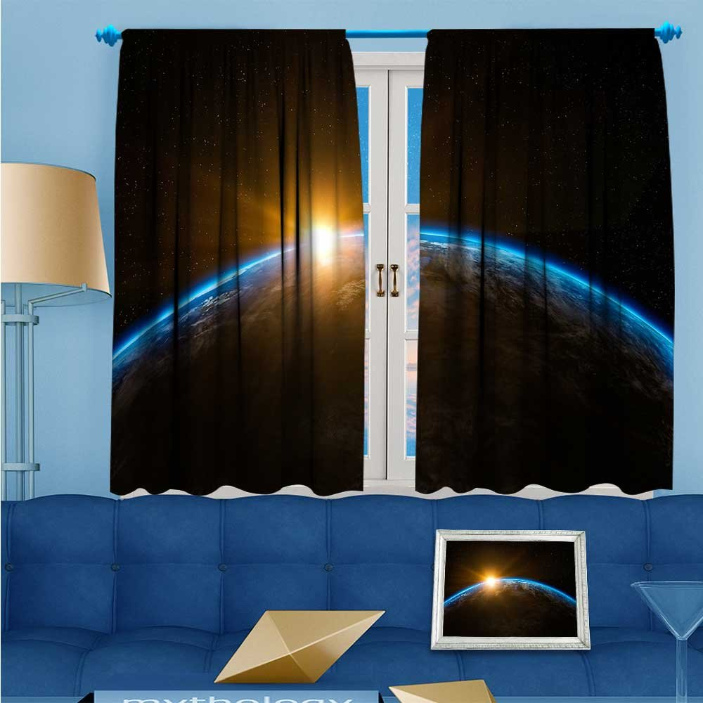 SCOCICI1588 Solid Rod Pocket top Thermal Insulated Window Blackout Curtains The solar cosmos on the earth's surface for Dining Room W84'' x L84'' Pair