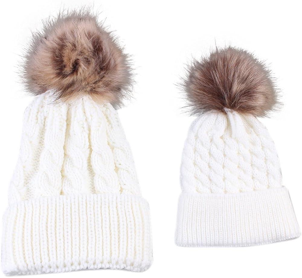 RETUROM Sombreros de bebé, Forme a invierno el sombrero caliente de la mamá y del bebé que hace punto