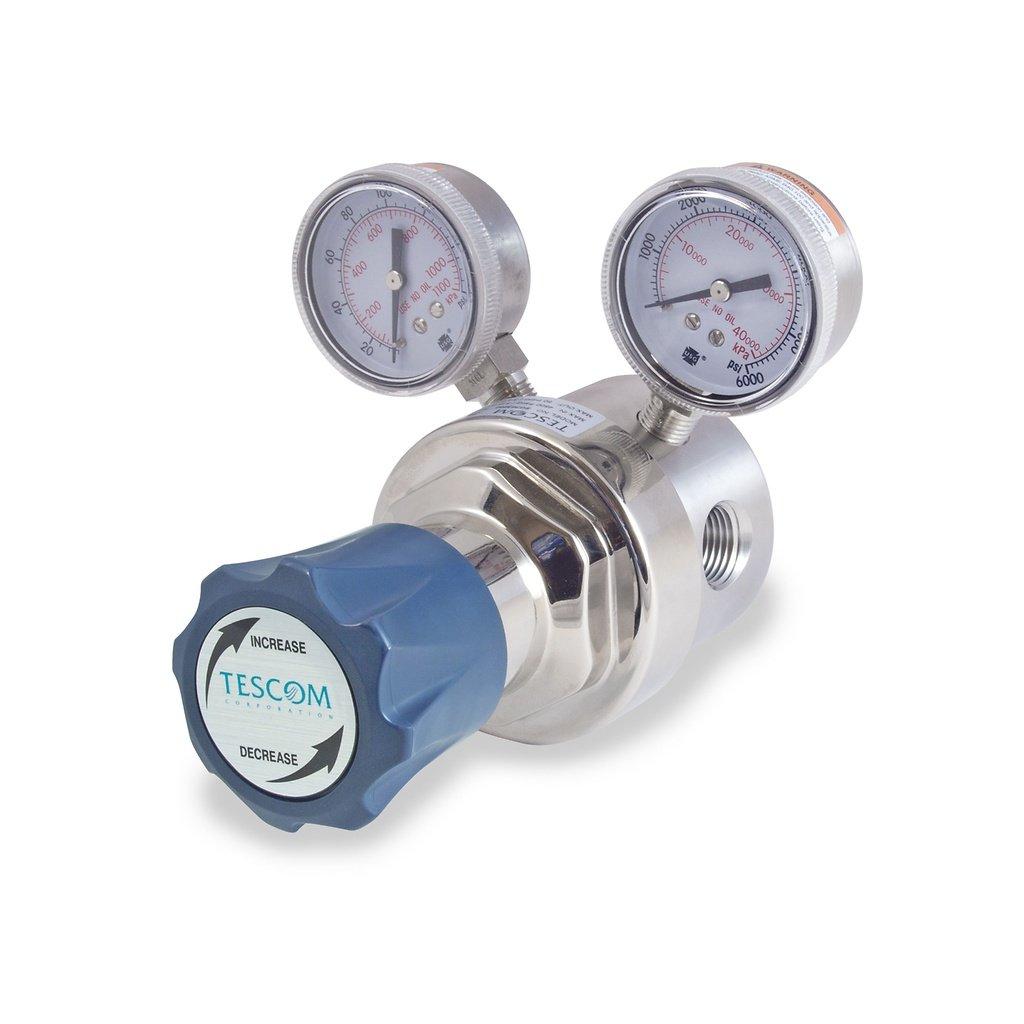 4 Port TESCOM SG3P1140-00AA0 SG3 Single-Stage Pressure Regulator Neoprene Diaphragm 0-15 PSIG Out 1.0 CV Plated Brass Body Gauges 1//2 NPTF 1//2 NPTF