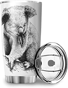 Stainless Steel Tumbler 20oz - Koala Double Wall Vacuum Insulated Coffee Cup Water Bottle Drinking Travel Mugs with Lid and Straw for Car,Office Gift for Kids white 20oz