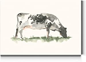 Renditions Gallery Grazing Cow Wall Art, Watercolor Print of Cow on Green Grass, Colorful Farmhouse, Premium Gallery Wrapped Canvas Decor, Ready to Hang, 24 in H x 36 in W, Made in America Artwork
