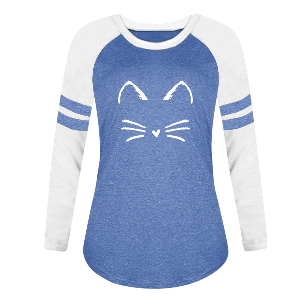 Winsummer Womens Cat Tops Long Sleeve Tshirt Tunic Top Casual Scoop Neck Shirts Blouse Color Block Tee