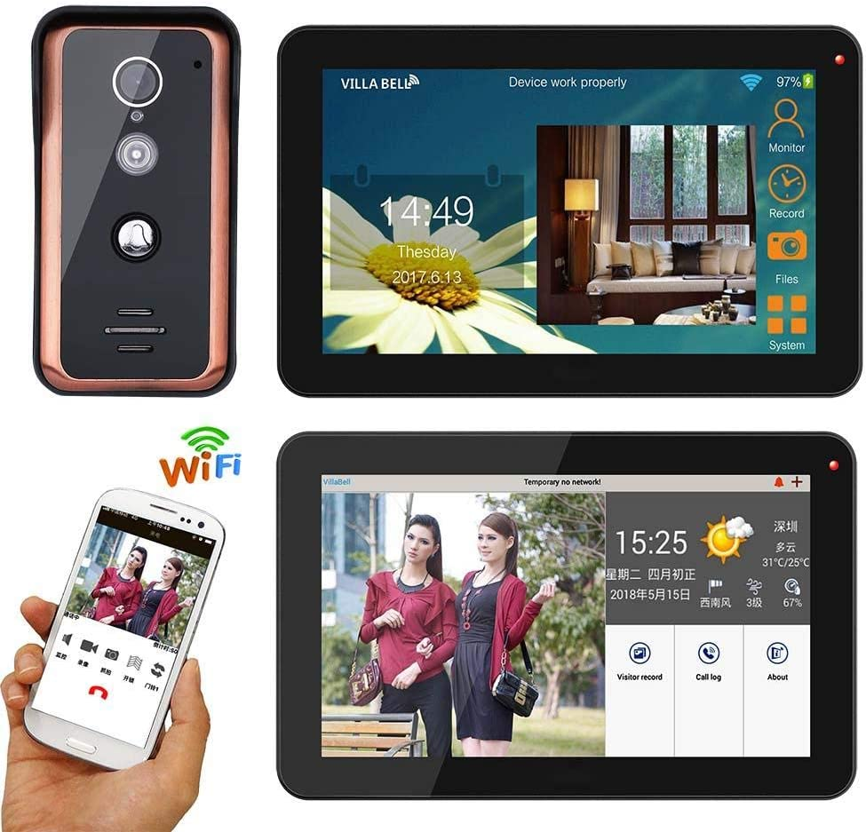 DYWLQ 9 Pouces WiFi Vid/éo Porte T/él/éphone Syst/ème de Porte interphone avec cam/éra HD IR Capture instantan/ée d/éverrouillage Vision Nocturne interphone APP /à Distance 2 moniteurs Enregistrement