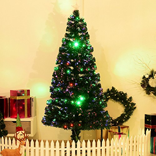 6' Artificial Holiday Fiber Optic / LED Light Up Christmas Tree w/ 8 Light Settings and Stand by HOMCOM (Image #1)