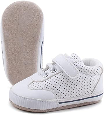 OOSAKU Chaussures bébé garçon Bas en Cuir suédé Chaussons