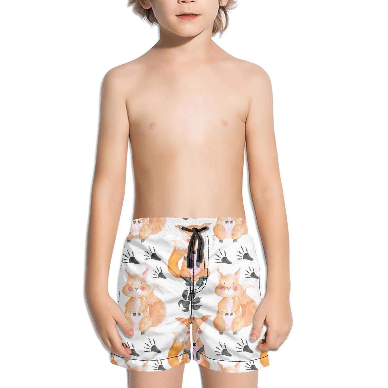 Etstk Fox and Squirrel Kids Lightweight Swim Trunks for Men