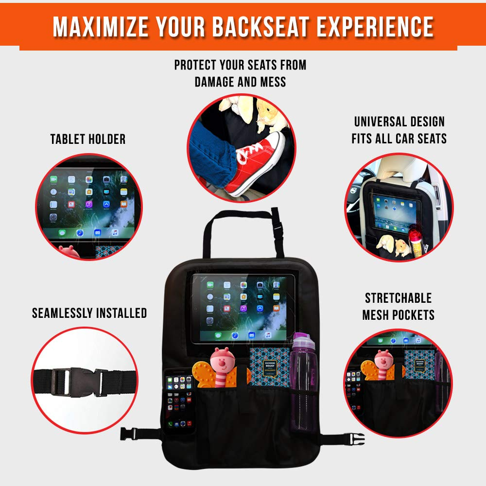 13/'/' Clear Tablet Holder /& Storage Pockets for Bottles /& Snacks Black Great For Baby Boosters XL Kids Kick Mat Protectors for Car Back Seats Fits All Vehicles 2 Backseat Toy Organizers by Ozziko