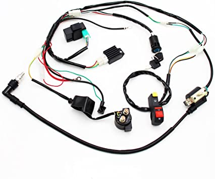 amazon.com: full wiring harness loom solenoid coil regulator 50cc 70cc 90cc  110cc 125cc dirt pit bike electric start engine: automotive  amazon.com