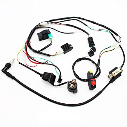 amazon com full wiring harness loom solenoid coil regulator 50cc rh amazon com Coolster Pit Bike Pit Bike Engine