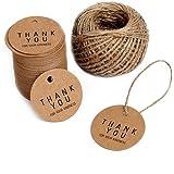 100枚 ラウンド クラフト紙 カード タグ ギフト装飾 クラフトタグ (Thank You For Your Kindness )30M麻紐付きギフトクラフト下げ札 結婚式 パーティー