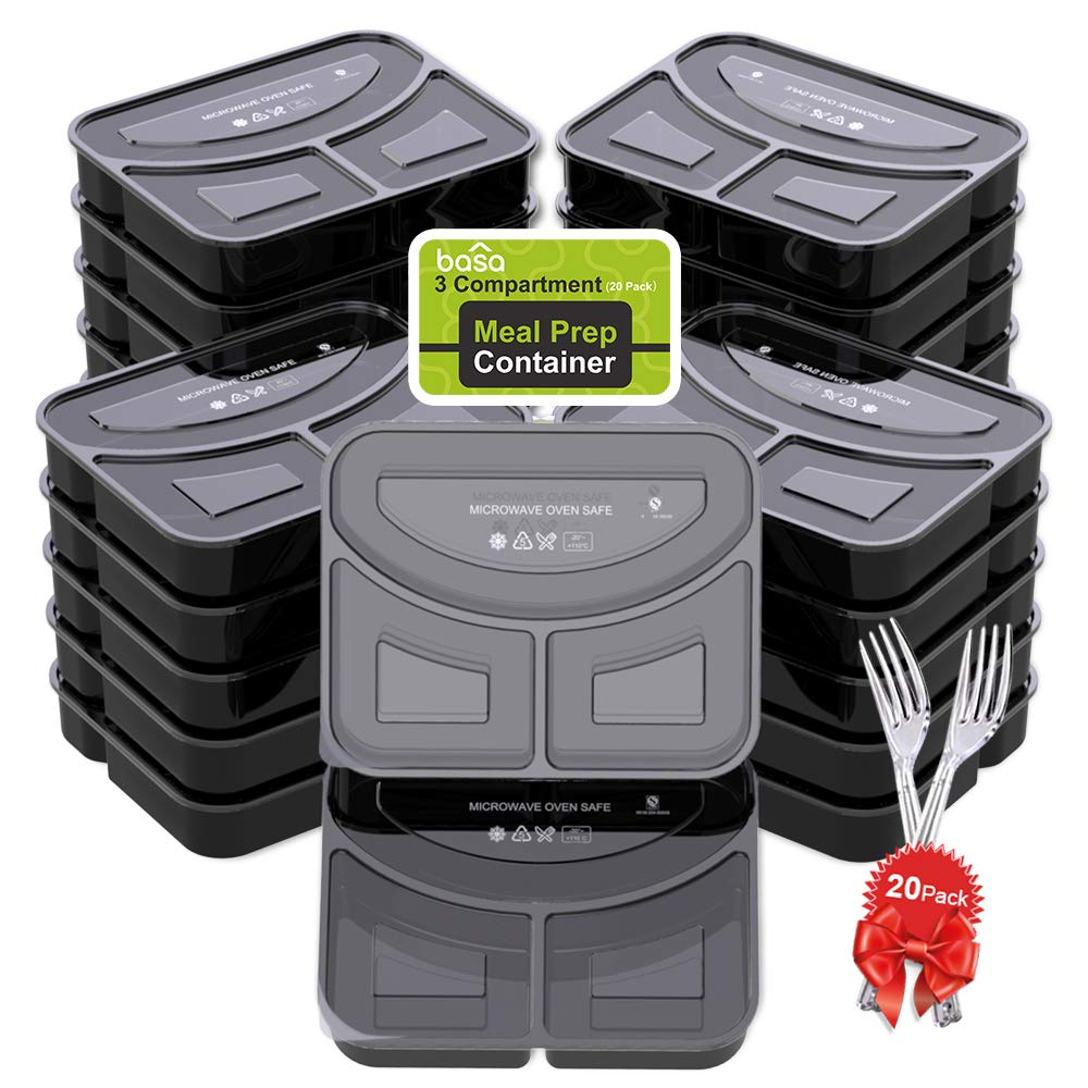 BASA Meal Prep Containers[20 Pack] 3 Compartment with Lids and Forks - BPA Free Portion Control Bento Box - Food Prep Containers Stackable - Microwave / Dishwasher / Freezer Safe (32oz), Black