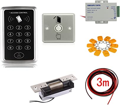 Amazon Com Rfid Security Control System Heavy Duty Electric Door Strike Lock Power Supply Stainless Steel Exit Button Rfid Token Key Rings 3m Cable Camera Photo