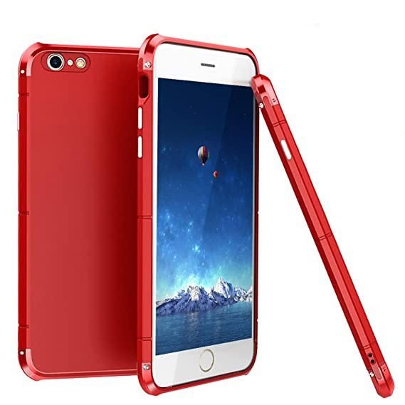 more photos e1252 238d0 iPhone 6/6S Case,3 In 1 Aluminum Metal Bumper Frame With Hard Plastic PC  Back Cover, Full Body Shockproof Heavy Duty Protection Shell Case for Apple  ...